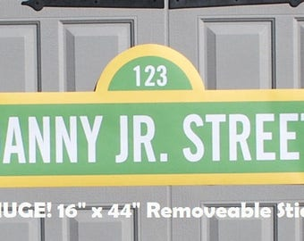 "LARGE Sesame Street Sign . Sesame Street Birthday Banner with Name . . 16"" x 44"" . Personalized . Printed on Removable Sticker Material"