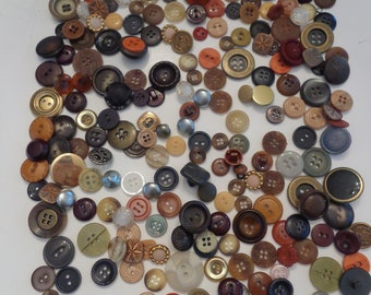 230 Retro Brown Button Mix, Vintage Brown Beige Tan Buttons, Mixed Vintage Buttons, Sewing Supplies, Buttons, Sewing Buttons Brown, Buttons