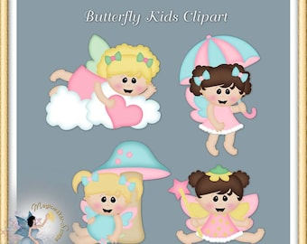 Butterfly Fairy Girls Clipart, Digital Scrapbook elements for Commercial Use