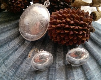 Domed pendant and earring set, sterling silver