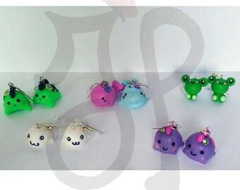 Earrings with kawaii animals