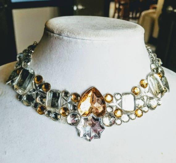 Amber Ice - rhinestone bling necklace, illusion necklace, rhinestone bib, floating necklace, rhinestone statement necklace