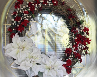 Elegant Frosted White Poinsettias with Crimson Cherry Blossoms Wreath - Winter Wreath - Christmas Wreath - Grapevine