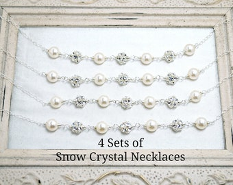 4 set of Bridesmaids Necklaces, Four Bridal Necklaces, Bridal Party Gifts, Wedding Necklace, Pearl, Rhinestone, Sterling Silver, Winter