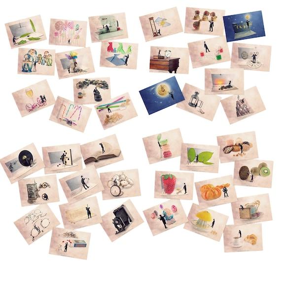 Postcard set, Food themed Art postcards, Food art, funny postcards, Postcard collection, fruit prints, Kitchen decor, postcards with fruit