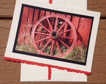 Wagon Wheel on the Farm Notecard Blank Greeting Card