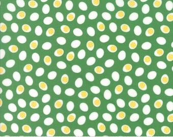 Farm Fun Fabric, Moda Fabrics, #20537-15, Farm theme fabric, fabric for boys, farm fabric, chicken eggs, green fabric