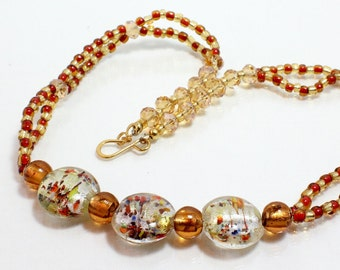 Gold Lampwork Necklace, Copper and Gold Necklace, Artisan Glass, Lampwork Necklace