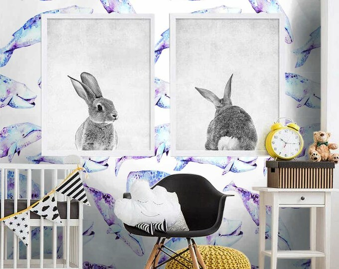 Whales Wallpaper - Children Wallpaper - Bedroom Wallpaper- Wallpaper for Kids Room