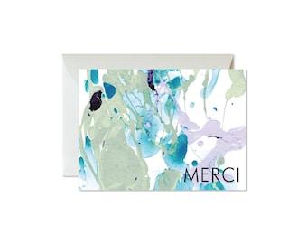 MERCI   Thank You Aqua Eucalyptus Lilac Marble Notecards + Envelopes Pack   Boxed Set (8)   Abstract   Modern