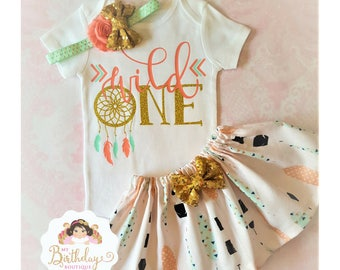 Wild one tutu outfit,Peach,Mint and Gold Wild One Dreamcatcher Birthday Outfit,Tribal tutu outfit,Baby Girl Boho Theme First Birthday