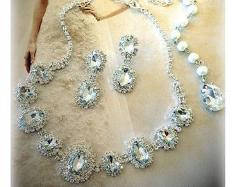 Wedding jewelry set, Bridal jewelry set, bridal necklace earrings, bridesmaid jewelry set, backdrop necklace earrings, crystal jewelry