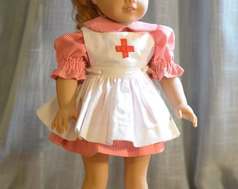 18 inch doll clothes - Nurse or Candy Striper Outfit