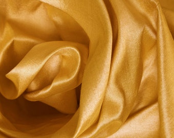Yellow 100% pure silk dupion fabric by the metre