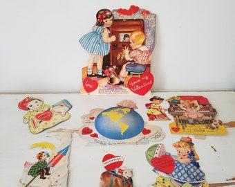 8 Vintage Mechanical Valentines Valentine's Day Cards 1940s darling illustrations!