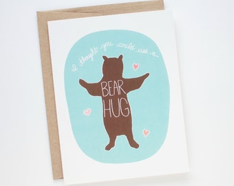 Thinking of You Card - Sympathy Card - Bear Hug Card - Card for a Friend - Just Because