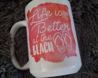 Life is Better at the Beach Retirement Coffee Mug - Gift for Coworker - Retirement Gift - Beach Lover - Personalized on the Back