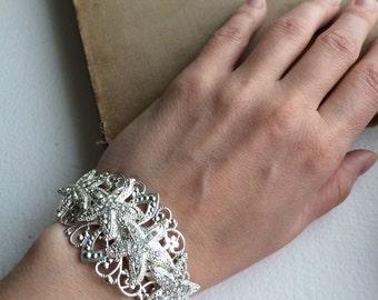 beach wedding jewelry, beach wedding bracelet, starfish bracelet, destination wedding starfish silver bridal cuff vintage rhinestone