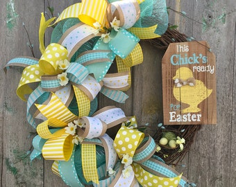 Front Door Easter Wreath - Easter Ribbon Wreath - Rustic Easter Grapevine Wreath - Yellow Easter Door Wreath - Easter Deco Mesh Wreath