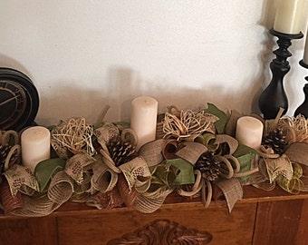 "36"" Burlap Pinecone Candle Arrangement/Cabin Pinecone Arrangement/Country Burlap Pinecone Arrangement/Rustic Pinecone Candle Arrangement"