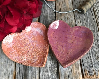 "1 Small Ceramic ""I Love You"" Heart Ring Dish | Stoneware Tea Bag Holder | Heart Pottery Spoon rest | Ceramic Trinket Dish | Shower Favors"