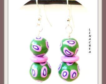 Dark green Cheetah and pink polymer clay earrings