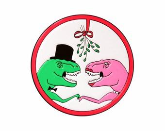 Mistletoe dinosaurs enamel lapel pin for Christmas