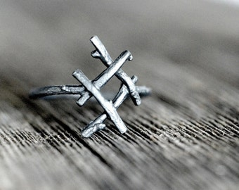 INGUZ Rune Ring, sterling silver twigs - True Love, Harmony, Fertility