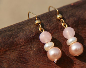 Rose quartz and Pearl earrings