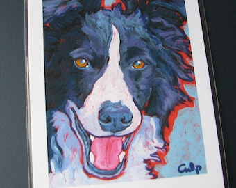 BORDER COLLIE Dog 8x10 Signed Art Print from Painting by Lynn Culp