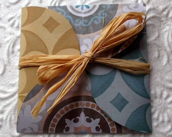 Greeting card (and envelope) Tan, Brown, blue/green and peach, patterns tile cement
