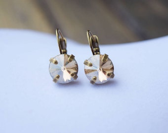 Swarovski Golden Shadow Crystal Leverback Earrings 10mm, Gold Earrings, Stud Available