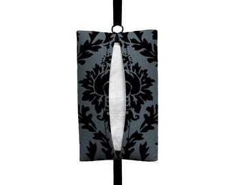 Auto Sneeze - Damask - Visor Tissue Case/Cozy - Car Accessory Automobile - Dark Grey Black Floral