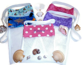 Personalized Beach Tote, Shell Collecting Bags, Kids Mesh Sea Shell Bag,