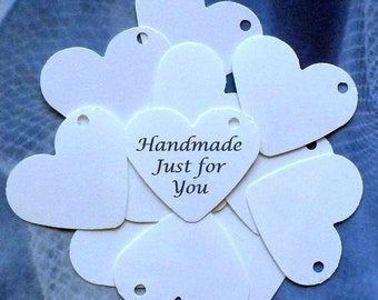 100 heart tags gift tags handmade just for you tags jewelry tags price tags mini tags white tags w ties clothing hang tags merchandise tags
