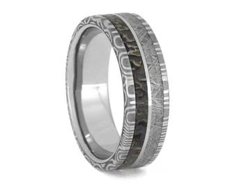 Damascus Steel Wedding Band, Meteorite And Dinosaur Bone Ring With Stainless Steel Sleeve, Unique Ring