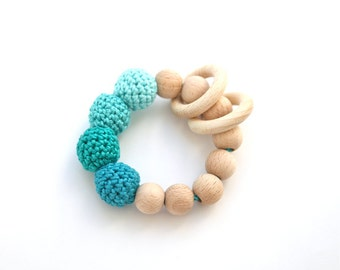 Green mint, magic mint, Tiffany blue, teal, Persian green teething ring toy with crochet wooden beads. Rattle for baby.