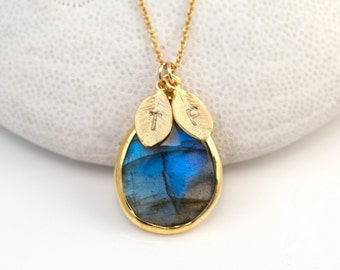 Custom Birthstone Initial Necklace - Labradorite Necklace - Personalized Jewelry - Gold Necklace - Personalized Jewelry