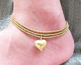 Casual Ankle Bracelet with Heart Charm