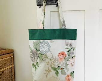 vintage floral fabric bag, linen fabric bag, tote bag, tote, gift for her, birthday gift, Sanderson fabric, cheerful bag, stylish, shoulder