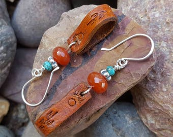 Leather Earrings  - Cactus-  Carnelian and Turquoise -Silver Earrings - Western Jewelry - Cowgirl Jewelry by HeartofaCowgirl