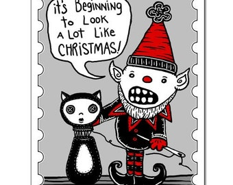 Looks Like Christmas - GingerDead Goth / Alt Greeting Cards - Blank 5 PACK  - Christmas / Holiday Humor