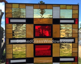 """The """"Stanford"""" Magnificent Mission Prairie Stained Glass Window Panel (We do custom work, email for a quick quote)"""