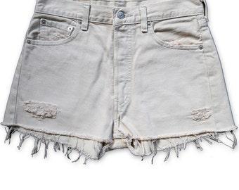 Vintage 90s Levi's Tan Beige Light Wash High Waisted Rise Cut Offs Frayed Distressed Jean Denim Shorts – Size 28