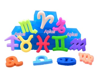 PYL506-PYL517 1 SET 12PCS 12 Signs of Zodiacal Silicone Mold - Zodiac Constellations Mold - The Zodiac Constellations'names Mold