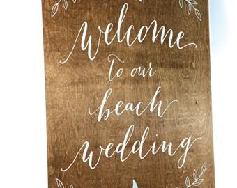 Rustic Beach Wedding Welcome Sign   Wedding Welcome Sign   Wooden Welcome Sign   Beach Welcome Sign   Wedding Beach Signs - WS-147