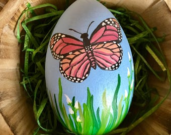 Butterfly Easter Egg - Hand painted 4.3 inch wood egg - Spring Decor