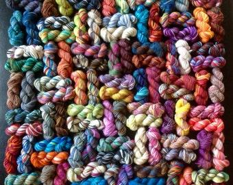 100 Sock Yarn Nuggets  - Wool Mini Skeins - 2000 Yds