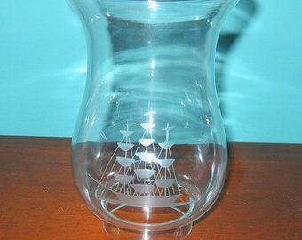 Replacement Hurricane Oil Lamp Glass Globe with Cut Glass TALL SHIP