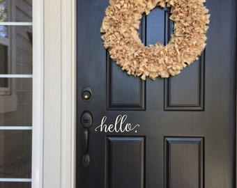 Hello Wall Decal - Farmhouse Decor - Farmhouse Wall Decor - Hello. Door Decal Vinyl Lettering for a front door - Country Cottage Decor